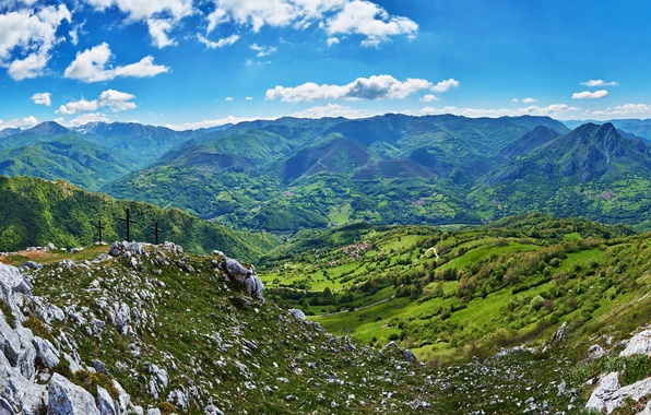 Картинка небо, облака, горы, камни, поля, долина, панорама, Испания, леса, Quiros