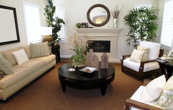 Картинка дизайн, стиль, стол, комната, диван, черный, интерьер, растения, кресло, зеркало, камин