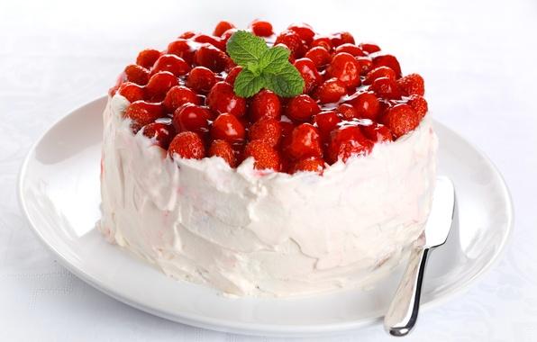 Картинка еда, сливки, клубника, торт, крем, десерт, выпечка, сладкое