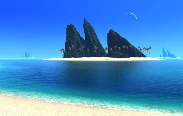 Картинка море, небо, пейзаж, горы, пальмы, скалы, луна, остров, месяц