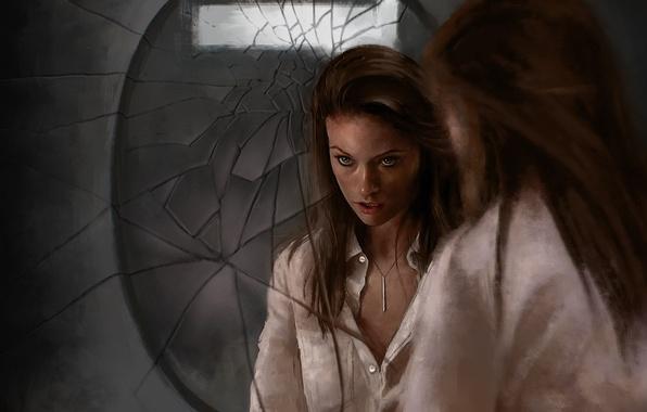 Картинка девушка, отражение, актриса, зеркало, Olivia Wilde