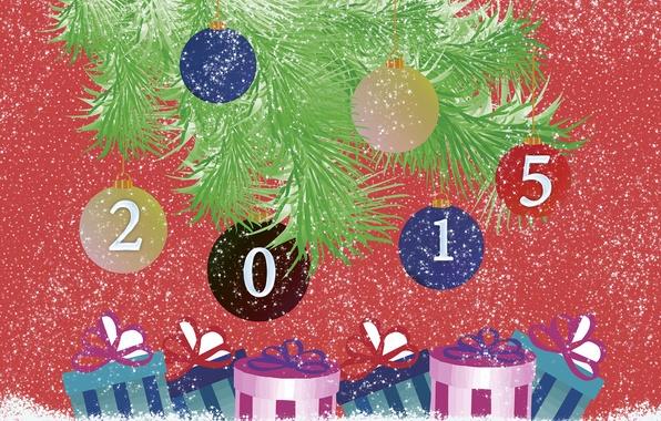 Картинка снег, ветки, текст, фон, обои, игрушки, елка, Шарики, Новый год, 2015
