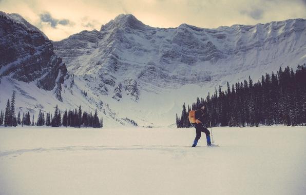 Картинка зима, снег, деревья, горы, шапка, человек, мужчина, рюкзак