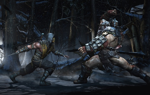 Картинка battlefield, sword, blood, forest, snow, katana, tree, man, fight, Scorpion, battle, ninja, mask, armour, warrior, …
