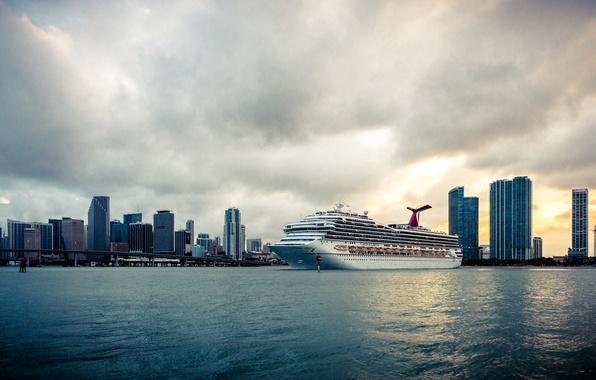 Картинка небо, закат, мост, city, город, дом, голубой, здание, корабль, небоскреб, облако, house, лайнер, сша, sky, …