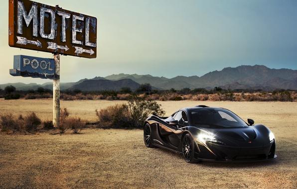 Картинка car, авто, суперкар, black, свет фар, макларен, McLaren P1