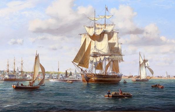 Картинка море, город, берег, рисунок, пристань, корабли, лодки, арт, порт, пароход