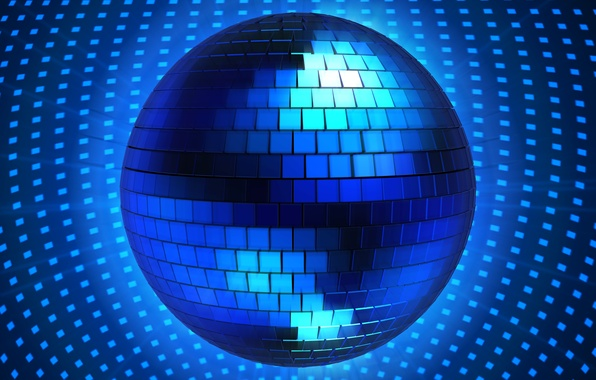Картинка синий, рендеринг, графика, шар, диско