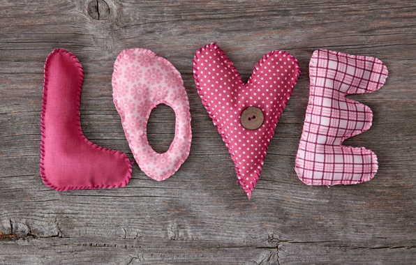 Картинка love, heart, wood, pink, romantic, letters, handcraft
