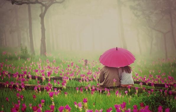 Картинка зелень, трава, девушка, любовь, цветы, природа, зонтик, фон, розовый, widescreen, обои, романтика, растительность, настроения, женщина, …