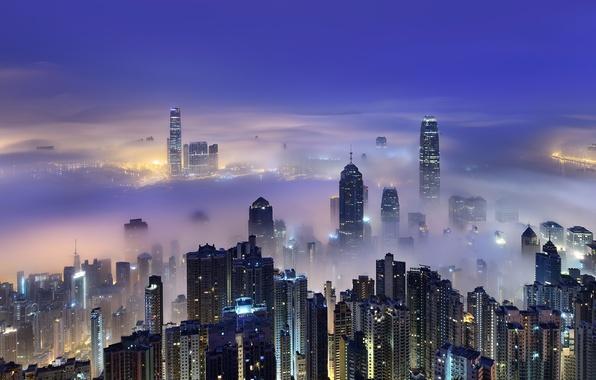 Картинка небо, город, весна, Гонконг, утро, Китай, Hong Kong, КНР, Март, Victoria Harbour, море облаков