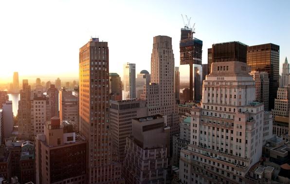 Картинка закат, нью-йорк, United States, Sunset, New York, New York City, nyc, Lower Manhattan