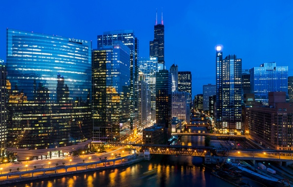 Картинка свет, мост, город, огни, река, здания, дома, небоскребы, вечер, освещение, Чикаго, USA, США, Иллинойс, Chicago, …