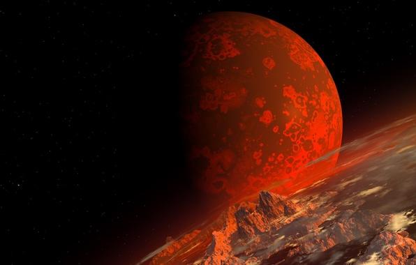 Картинка космос, ландшафт, планета, арт, красная, рельеф, рендер