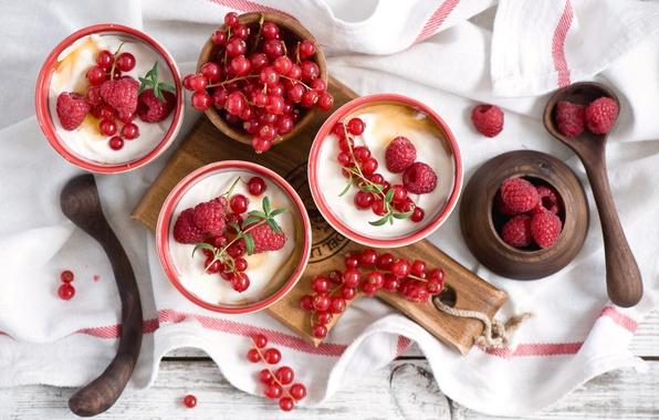 Картинка ягоды, малина, доска, десерт, смородина, салфетка, ложки, йогурт, Anna Verdina