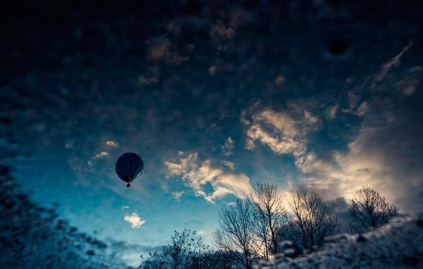 Картинка небо, облака, воздушный шар