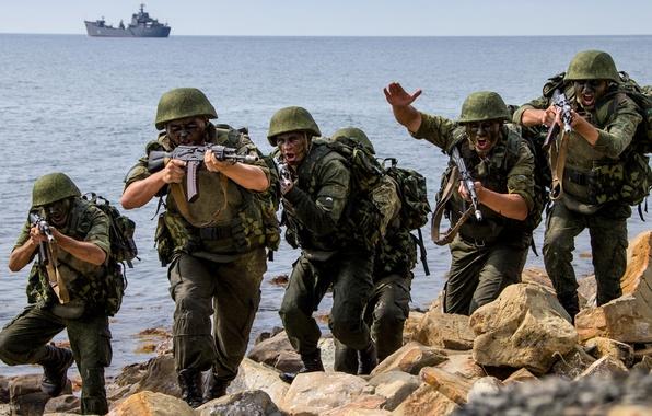 Картинка атака, корабль, флот, Россия, учения, морская, пехота