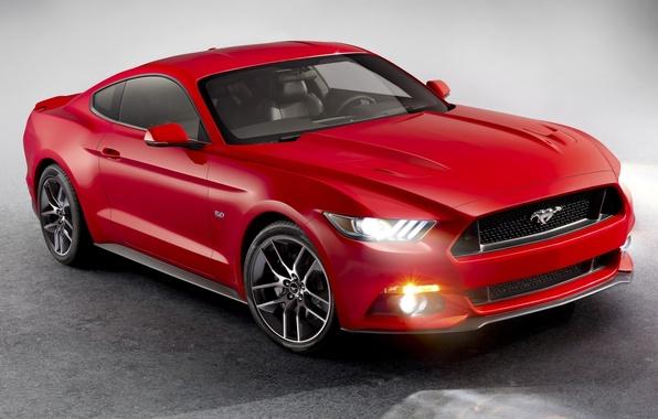 Картинка красный, Mustang, Ford, Форд, Мустанг, передок, Muscle car, Мускул кар