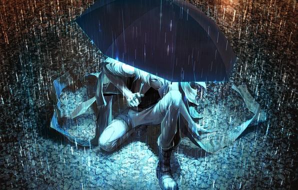 Картинка свет, ночь, зонтик, дождь, зонт, арт, лужи, парень, Yuanmaru