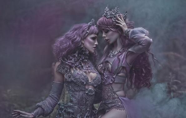 Картинка фантазия, арт, две девушки, Ophelia Overdose, Agnieszka Lorek, Lavender Love, Ryo Love