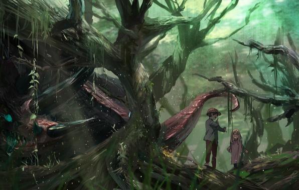 Картинка лес, деревья, природа, дети, монстр, аниме, мальчик, арт, девочка, syo5