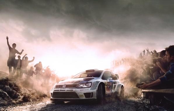 Картинка Авто, Рисунок, Белый, Спорт, Volkswagen, Машина, Скорость, Люди, Автомобиль, Red Bull, WRC, Rally, Ралли, Передок, …