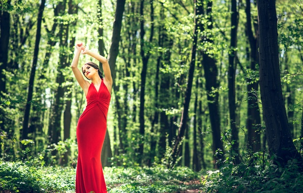 Картинка red, girl, summer, fantasy, sexy, forest, fashion, dress, design, nature, style, woman, wood, young, lifestyle, …