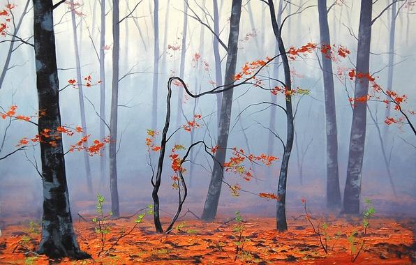 Картинка осень, листья, деревья, природа, туман, арт, artsaus