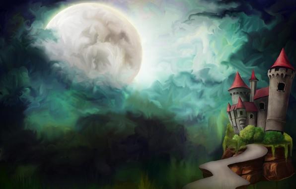Картинка дорога, облака, ночь, замок, луна, рисунок, башни, полнолуние