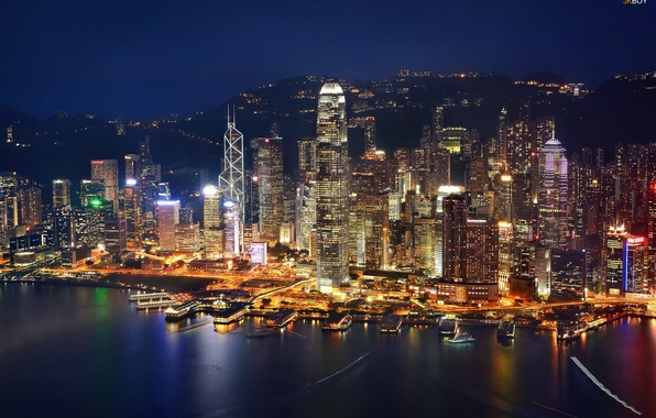 Картинка ночь, огни, дома, Гонконг, вечер, Китай, Hong Kong, КНР