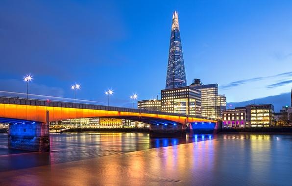Картинка небо, облака, мост, city, город, огни, река, Англия, Лондон, вечер, выдержка, освещение, подсветка, фонари, Великобритания, …