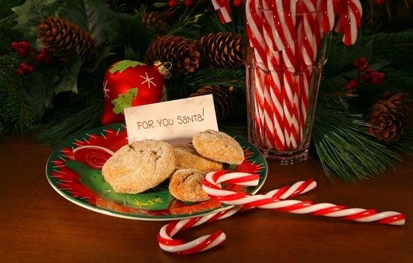 Картинка праздник, игрушки, елка, новый год, еда, ветка, печенье, тарелка, шишки, сладкое, happy new year, новогодние, …