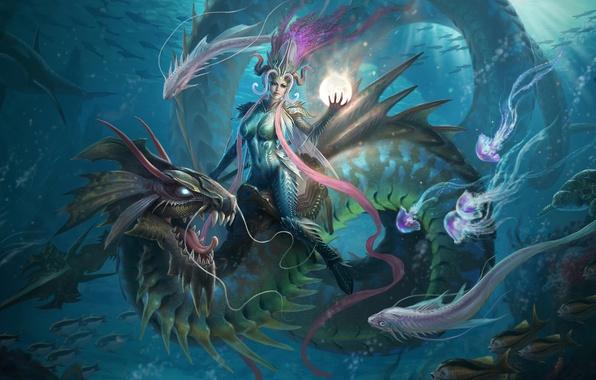 Картинка девушка, рыбы, магия, дракон, шар, арт, медузы, копье, сфера, подводный мир, верхом, Li Ya