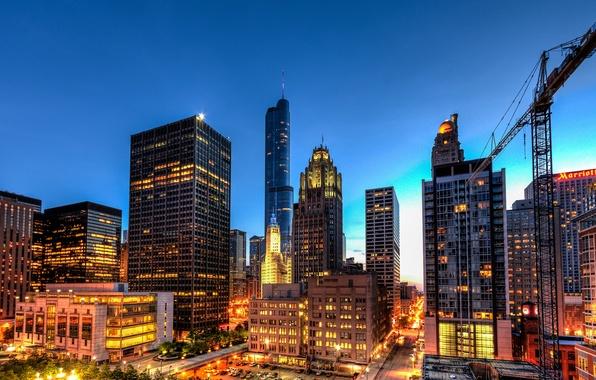 Картинка свет, город, огни, здания, дороги, дома, небоскребы, вечер, освещение, Чикаго, USA, США, Иллинойс, Chicago, Illinois, ...
