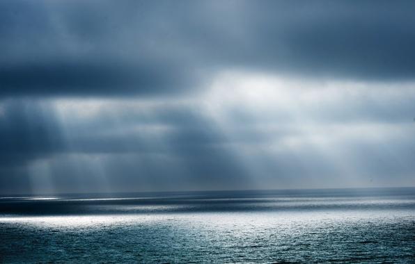Картинка море, солнце, облака, буря