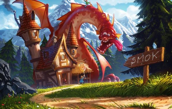 Картинка горы, знак, дракон, арт, дорожка, девочка, домик, леденец