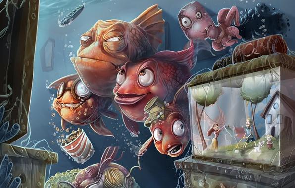Картинка рыбы, люди, аквариум, юмор, телевизор, семья, арт, осьминог, подводный мир