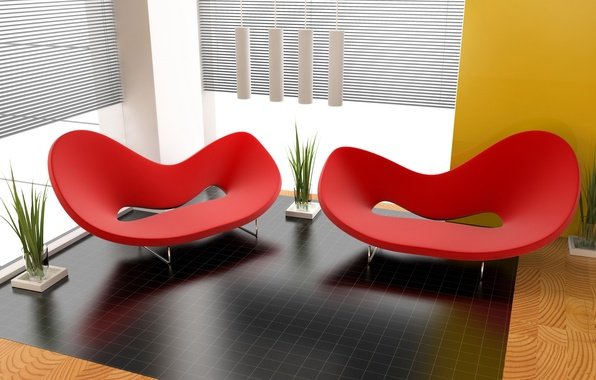 Картинка дизайн, стиль, комната, красное, интерьер, растения, кресло, формы, квартира