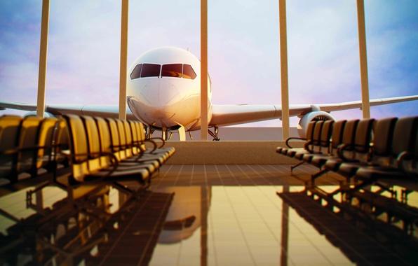 Картинка небо, стекло, авиация, отражение, плитка, отпуск, вечер, окно, пол, плиты, аэропорт, сиденья, америка, отблеск, самолёт, ...