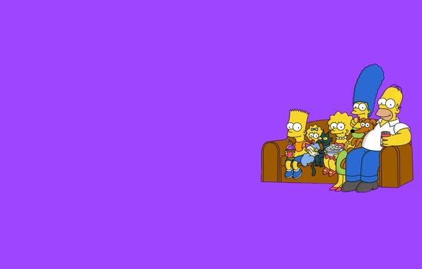 Картинка диван, Симпсоны, минимализм, фиолетовый фон, The Simpsons