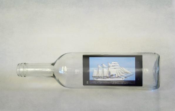 Картинка фон, бутылка, телефон