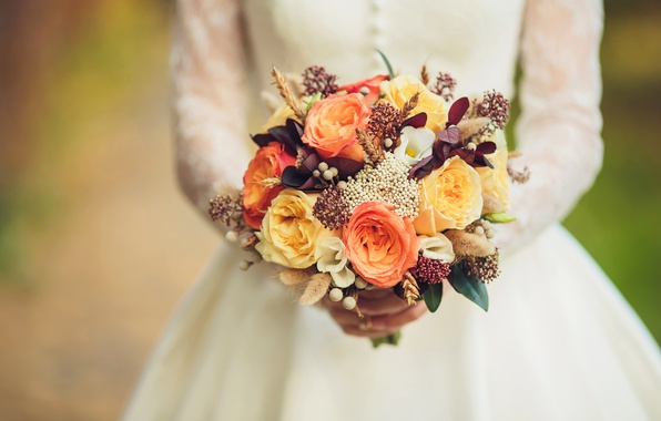 Картинка розы, букет, руки, нежные, невеста, свадьба, beautiful, Roses, bouquet, wedding, romance, bride, эустома