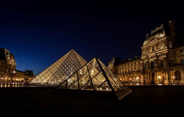 Картинка свет, ночь, город, Франция, Париж, Лувр, освещение, пирамида, Paris, музей, France, Louvre