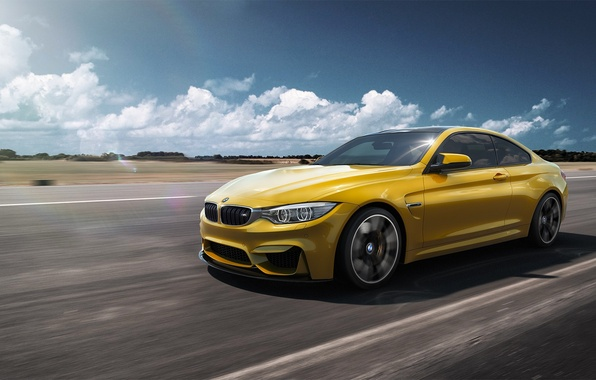 Картинка BMW, German, Car, Speed, Front, Yellow, F82