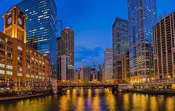 Картинка мост, город, река, часы, здания, дома, небоскребы, вечер, освещение, Чикаго, USA, США, Иллинойс, Chicago, Illinois, …
