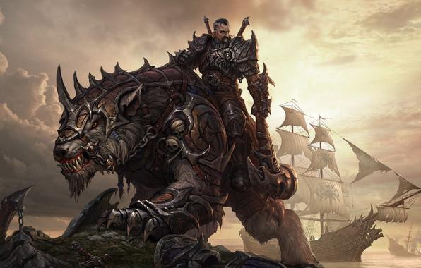 Картинка фантастика, существо, воин, арт, пасть, когти, черепа, всадник, броня, зверь, топор