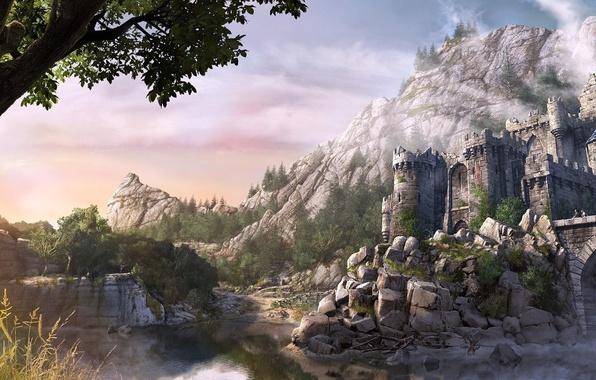 Картинка деревья, горы, мост, река, камни, замок, крепость