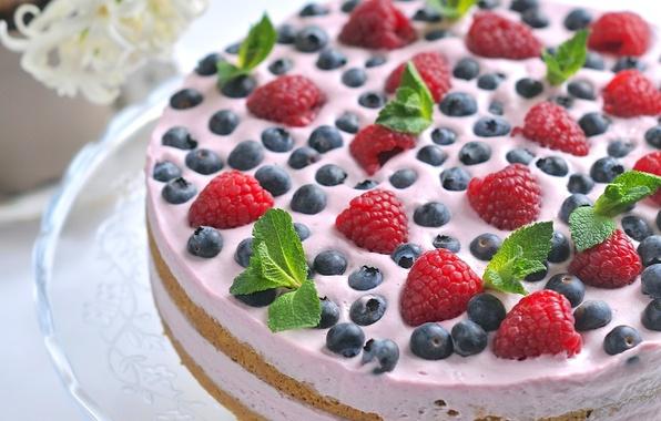 Картинка ягоды, малина, торт, мята, крем, десерт, голубика