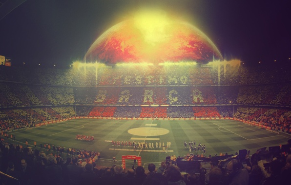 Картинка люди, футбол, спорт, sport, Испания, стадион, игроки, football, Барса, Barcelona, Spain, Espana, Real Madrid, Camp …