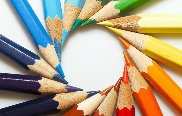 Картинка цвет, круг, карандаши